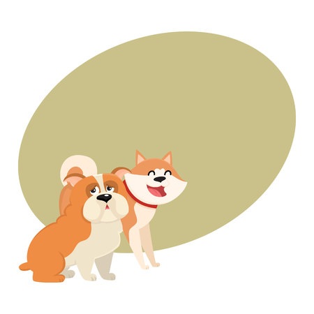akita: Couple of cute, funny dog characters - Japanese akita inu and English bulldog, cartoon vector illustration with space for text. Lovely bulldog and akita inu characters, dog breeds