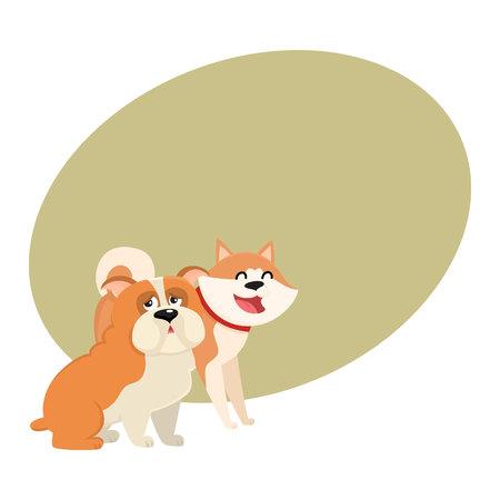 Paar van leuke, grappige hondkarakters - Japanse akitainu en Engelse buldog, beeldverhaal vectorillustratie met ruimte voor tekst. Mooie buldog en akita inu karakters, hondenrassen Stock Illustratie
