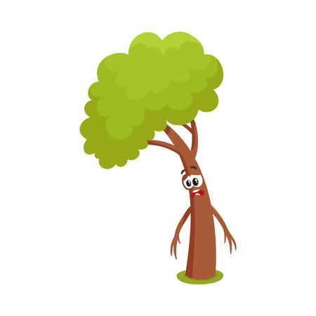 Funny comic tree character feeling sad, upset, discouraged, showing despair, cartoon vector illustration isolated on white background. Funny tree character, mascot with human face, feeling sad, upset Illustration