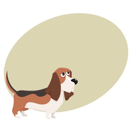 かわいい純血種バセットハウンド犬文字、テキスト用のスペースと漫画ベクトル図です。ニースとフレンドリーなバセットハウンド犬文字、カラフ