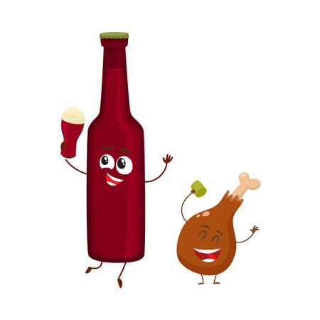 Funny beer bottle and fried chicken leg characters having fun, cartoon vector illustration isolated on white background. Funny smiling beer bottle and chicken leg, drumstick having party together