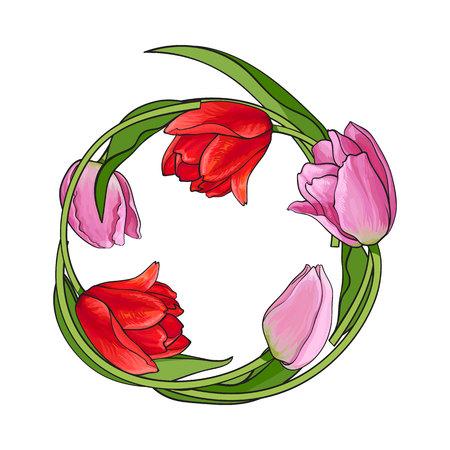 El marco redondo del tulipán rojo y rosado florece con el lugar para el texto, ejemplo del vector del bosquejo aislado en el fondo blanco. Tarjeta de felicitación, plantilla de banner, decoración con marco redondo de tulipanes dibujados a mano