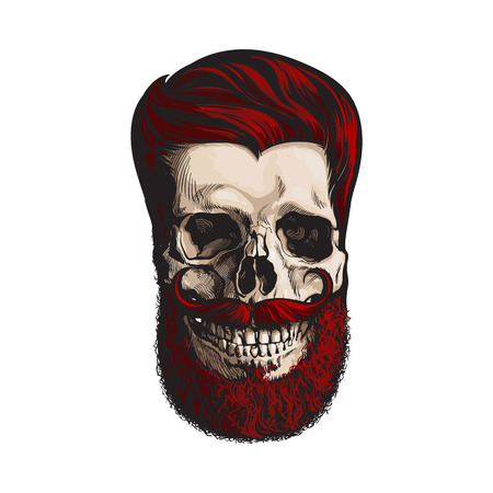 Hand drawn human skull with hipster red hairdo, beard and moustache, sketch style vector illustration isolated on white background. Hand drawing of human skull with hipster red hair, beard and whisker Illustration