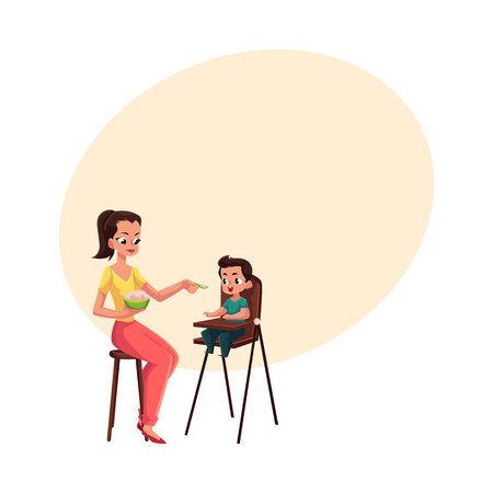 Mother feeding her son sitting in baby high chair, cartoon vector illustration with space for text. Mother, mom holding bowl of porridge, spoon feeding her son in high chair