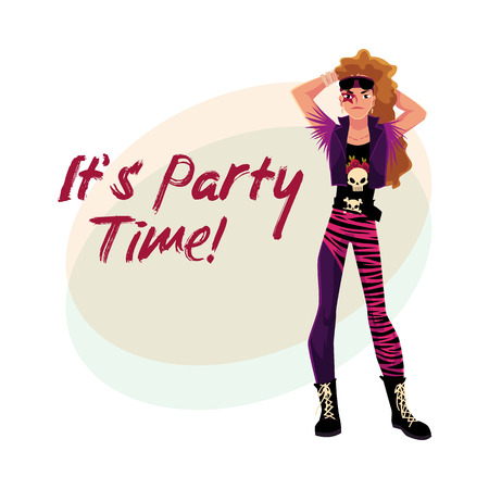 Glam rock party invitation, banner poster template with young man dressed in vest and boots, cartoon vector illustration. Glam rock party invitation banner, poster layout with rock star man Illustration