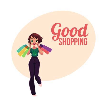 幸せなショッピングの女の子とポスター、バナー、はがきテンプレート、多くの袋、休日販売コンセプト、漫画を保持している女性のベクトル イラ