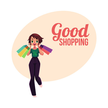 Happy shopping poster, banner, postcard template with girl, woman holding many bags, holiday sale concept, cartoon vector illustration.