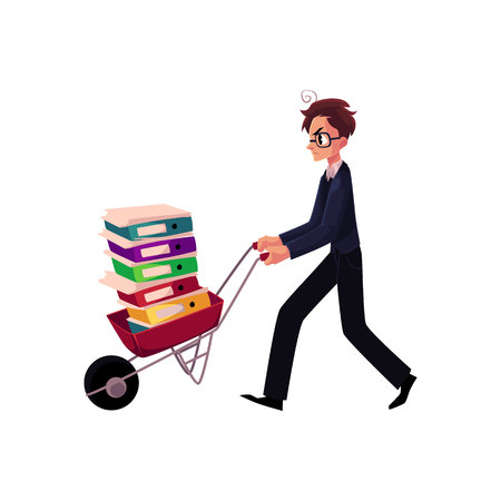Young worried man, businessman in glasses pushing wheelbarrow full of document folders, cartoon vector illustration isolated on white background. Nervous businessman pushing wheelbarrow with folders Иллюстрация