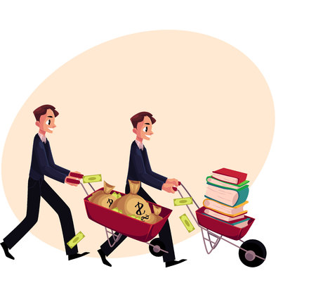 Two men, businessmen pushing wheelbarrows, one with pile of books, another holding money bags, cartoon vector illustration with space for text. Money versus education concept Illustration