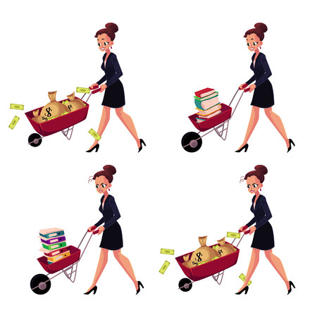 concerned: Set of happy and worried businesswomen pushing wheelbarrows full of money bags, book, document folders, cartoon vector illustration isolated on white background. Businesswoman pushing wheelbarrow set