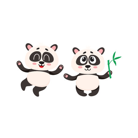 Two cute, funny happy baby panda characters standing, looking up, cartoon vector illustration isolated on white background. Çizim