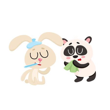 病気の赤ちゃんウサギとパンダは、風邪、インフルエンザ、鼻水、白い背景で隔離の漫画ベクトル図を持ちます。アイスパック、パンダ ハンカチで  イラスト・ベクター素材