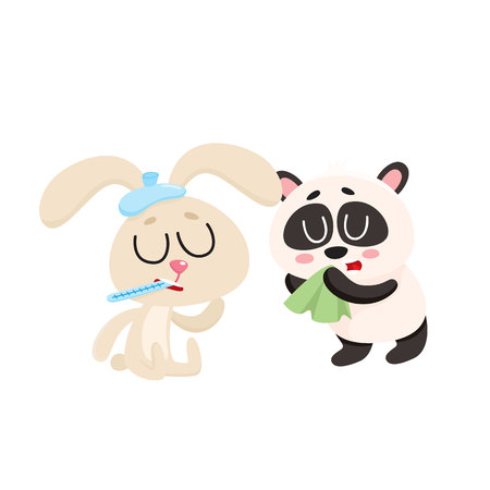 Sick baby rabbit and panda bear having cold, flu, runny nose, cartoon vector illustration isolated on white background. Sick little rabbit with ice pack, panda blowing nose with handkerchief