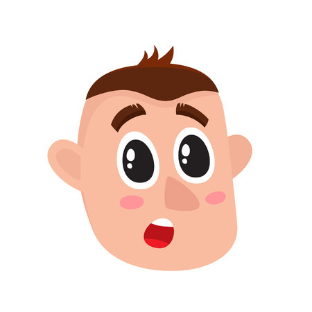 Young man face, surprised facial expression, cartoon vector illustrations isolated on white background. Handsome boy emoji surprised, shocked, amazed, astonished. Illustration