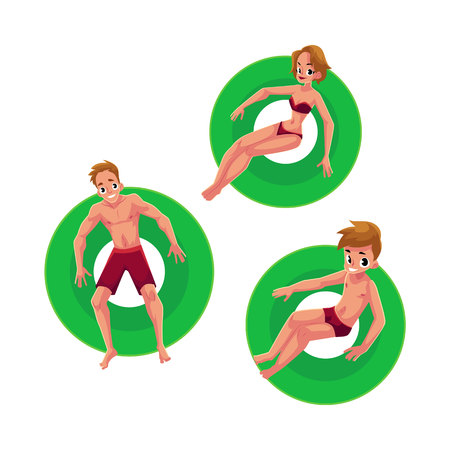 Caucasian girl, woman, man and kid, boy floating on inflatable rings, top view cartoon vector illustration isolated on white background. Man, woman, boy swimming on inflatable rings