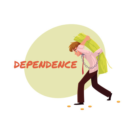 Financial dependence poster, banner template with man carrying bundle of money on his back, cartoon vector illustration.
