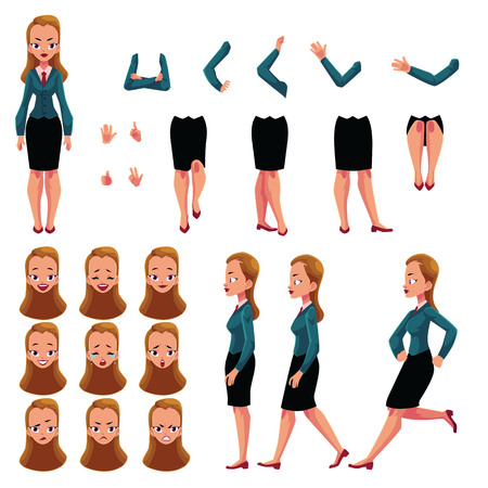 Businesswoman, woman character creation set with different poses, gestures, faces, cartoon vector illustration on white background. Businesswoman creation set, constructor, changeable face, legs, arms