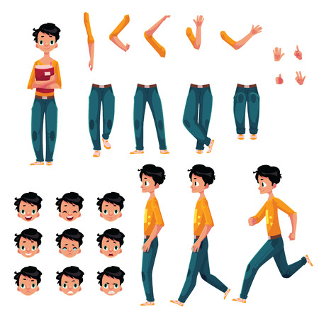 Student, young man character creation set with different poses, gestures, faces, cartoon vector illustration on white background. Studemt boy creation set, constructor, changeable face, legs, arms Stok Fotoğraf - 78434965