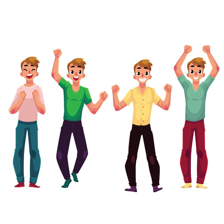 Young man, boy, guy, rejoicing, cheering, celebrating, raising clenched fists over head, cartoon vector illustration