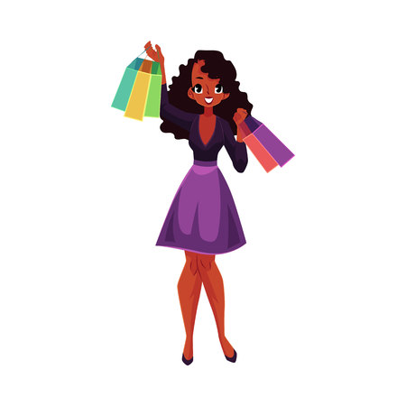 happy shopper: Happy black, African American girl, woman with shopping bags, sale concept, cartoon vector illustration isolated on white background. Black girl, woman with many shopping bags, happy shopping concept Illustration