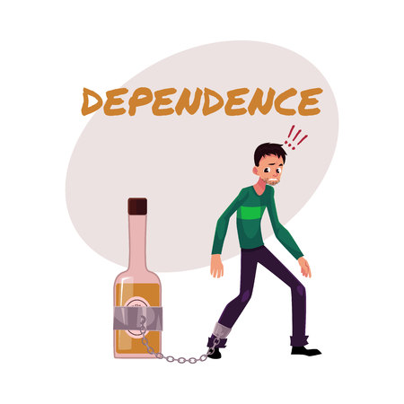 Financial dependence poster, banner template with man standing with leg chained to bottle of liquor, alcohol dependence, cartoon vector illustration isolated on white background. Иллюстрация