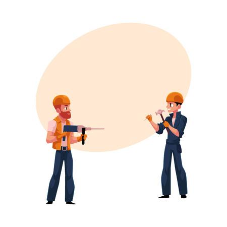 2 つの労働者、建設業者のヘルメットとオーバー オール、壁を掘削、釘を打つのには漫画本文のスペースのベクトル図です。建設労働者、壁の両側  イラスト・ベクター素材