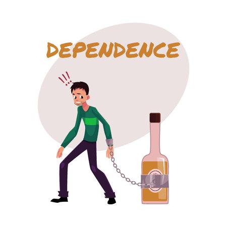 金融依存性ポスター、バナー テンプレートお酒のボトルにチェーンの手で立っている男性と、白い背景で隔離の漫画ベクトル図、アルコール依存症