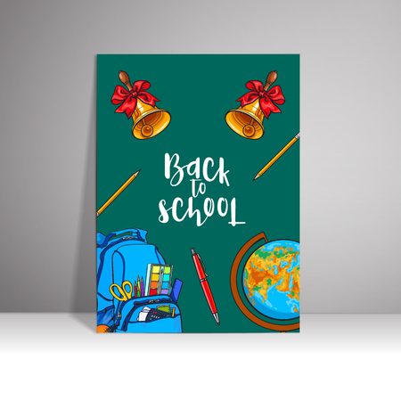 Poster with the inscription welcome to the school, sketch vector illustration