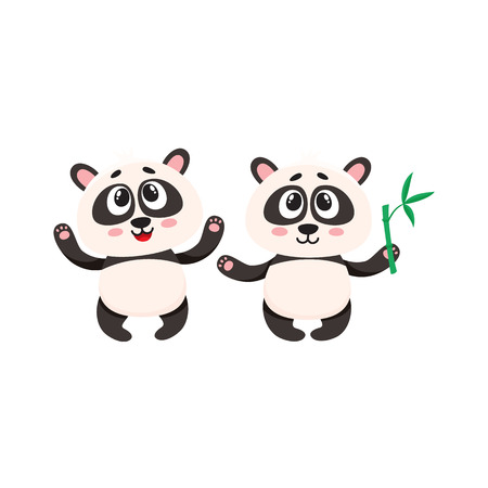 Two cute, funny happy baby panda characters standing, looking up, cartoon vector illustration Çizim