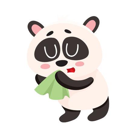 Panda enfermo, tener, frío, gripe, soplar, nariz, en, pañuelo, tejido facial, caricatura, vector, ilustración