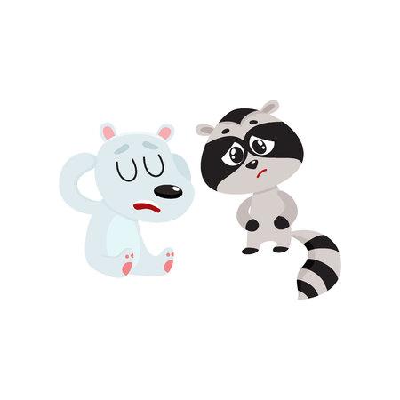 Sick baby raccoon and polar bear having headache, suffering from stomach ache, cartoon vector illustration