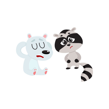 Sick baby raccoon and polar bear having headache, suffering from stomach ache, cartoon vector illustration