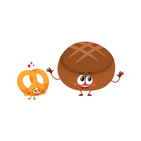 Couple of smiling German pretzel and brown bread, bakery characters, cartoon vector illustration isolated on a white background. Crispy pretzel and round rye, brown bread loaf characters, mascots