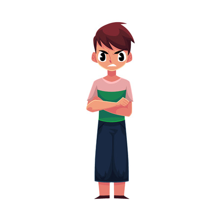Little boy, child in casual clothes standing with frowned, angry face expression, cartoon vector illustration