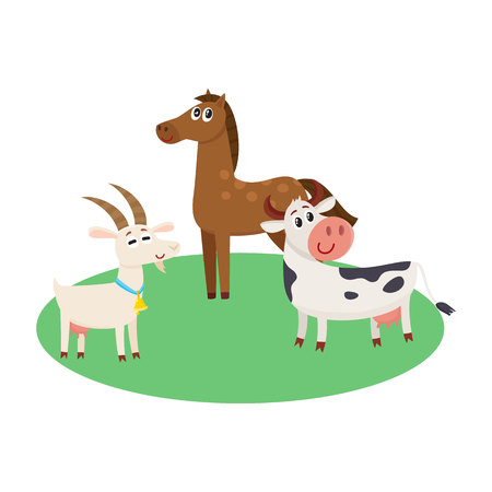 Farm horse, cow and goat grazing upon the green pasture, cartoon vector illustration isolated on white background. Cute and funny farm horse, goat, cow with friendly faces and big eyes