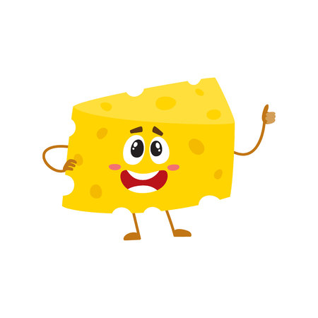 Funny cheese chunk character showing thumb up, good quality concept, cartoon vector illustration