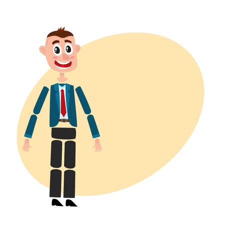 La creación del personaje del hombre se establece con la cabeza, el cuerpo, el brazo y los detalles de las piernas, ilustración vectorial de dibujos animados con espacio para texto. Hombre divertido, hombre de negocios en la creación de traje de negocios conjunto con brazos y piernas móviles Foto de archivo - 78906411