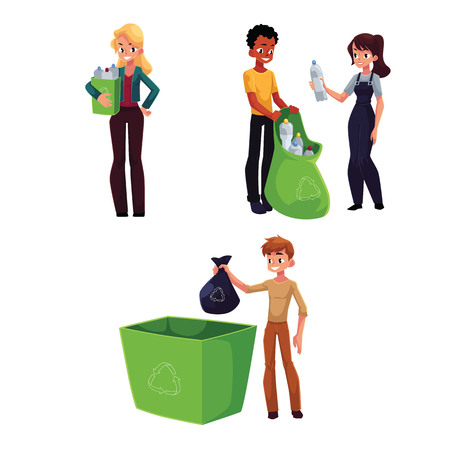 People collecting plastic bottles, waste, garbage recycling concept, cartoon vector illustration