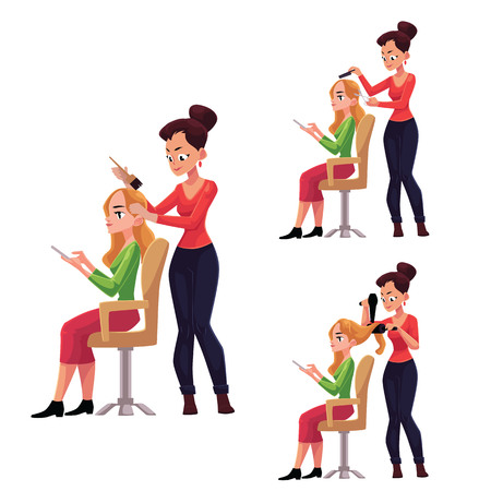 Hairdresser cutting, dying, drying hair for a woman while she uses smartphone, cartoon vector illustration Illustration