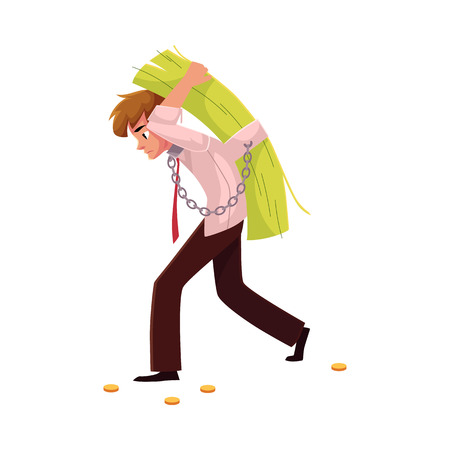 Man carrying bundle of banknotes on his back, money dependence, cartoon vector illustration isolated on white background. Man chained to bundle of banknotes he carries on back, financial dependence Illustration