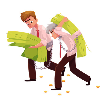 hunched: Two men, young and old, carrying huge bundle of money, one on back, another in hands, cartoon vector illustration