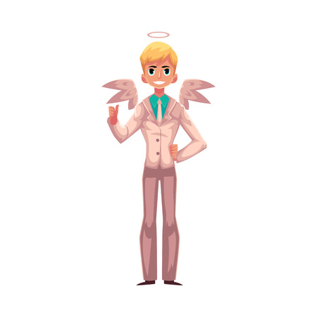 Handsome man dressed as angel in business suit with wings and halo, cartoon vector illustration