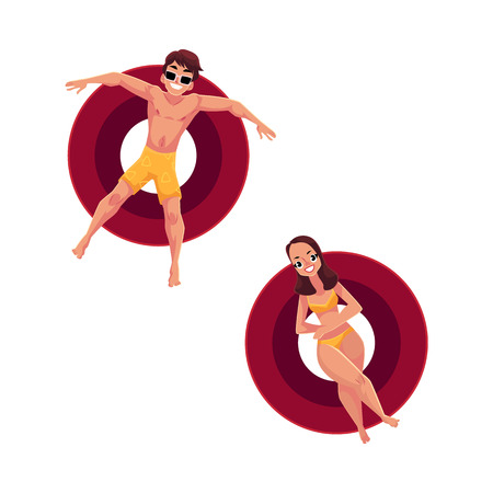 Boy, man in sunglasses and girl, woman wearing bikini float on inflatable rings, top view cartoon vector illustration