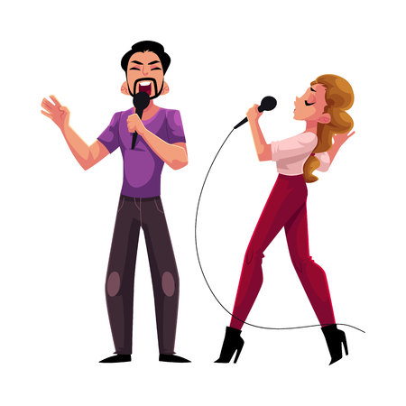 Man and woman, couple singing in duet, karaoke party, contest, competition, cartoon vector illustration