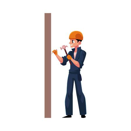 Werknemer, bouwer in helm, overalls hameren nagels in de muur, cartoon vectorillustratie geïsoleerd op een witte achtergrond. Volledig lengteportret van Kaukasische bouwvakker, bouwer met hamer