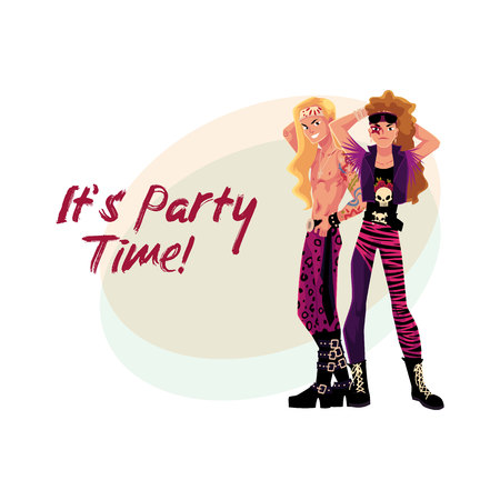 Glam rock party invitation, banner poster template with two young men in leather clothing.