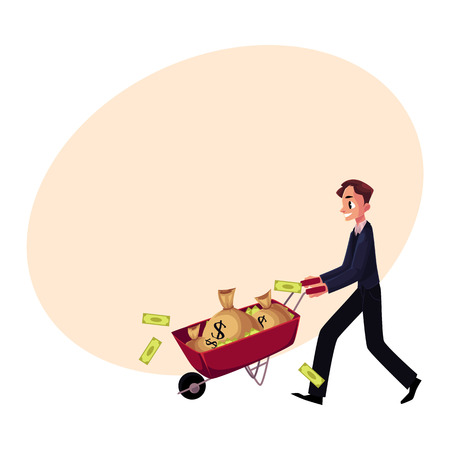 Young man, businessman pushing wheelbarrow full of money bags, losing banknotes, cartoon vector illustration with space for text. Businessman pushing wheelbarrow, wheel barrow with money bags