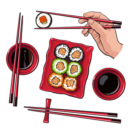 Japanese sushi set, serving plate, hand holding chopsticks, sketch vector illustration isolated on white background. Sushi serving plate, hand with chopsticks, soy sauce bowls, Japanese cuisine Illustration