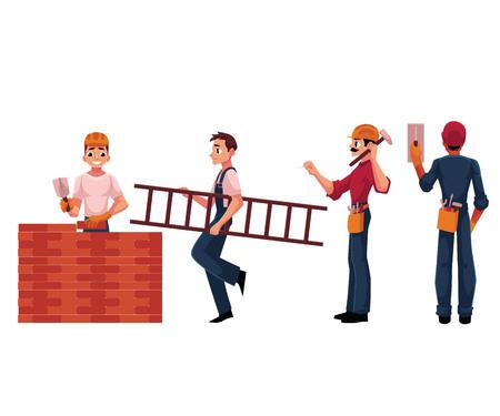 建設労働者、ビルダー、電気技師の身に着けているヘルメット、レーシング スーツ、白い背景で隔離の漫画ベクトル図。建築、建設現場で働く労働