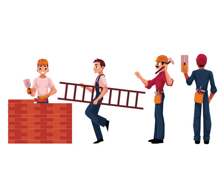 Construction workers, builder, electrician wearing helmets and overalls, cartoon vector illustration isolated on white background. Builders, workers working on construction site Illustration